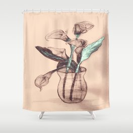 Old Photo Calla Lilies Shower Curtain