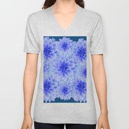 BLUE-WHITE DAHLIA FLOWERS IN  TEAL COLOR Unisex V-Neck