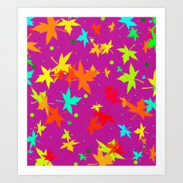 Forever Autumn Leaves purple 4 Art Print