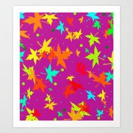Forever Autumn Leaves purple 4 Art Print