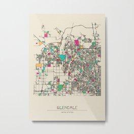 Colorful City Maps: Glendale, Arizona Metal Print