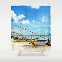 boats Shower Curtains featuring boats by Baptiste Riethmann
