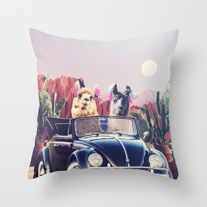Llamas on the road Throw Pillow