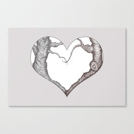 Two Trees in Love Sweetheart Valentine Illustration Canvas Print