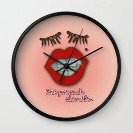 Shiny Braces, Red Lips, Mole, and Thick Eyelashes Wall Clock
