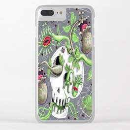 skull pot with carnivorous plants Clear iPhone Case