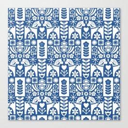 Swedish Folk Art - Blue Canvas Print