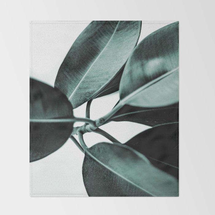 Minimal Rubber Plant Throw Blanket