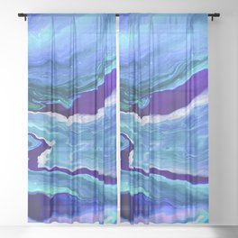 Dreamy Fluid Abstract Painting Sheer Curtain