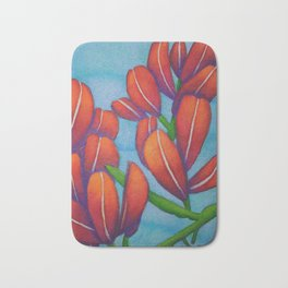Botanical Painting with Reds and Blues Bath Mat