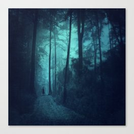 Light in a cyan forest Canvas Print