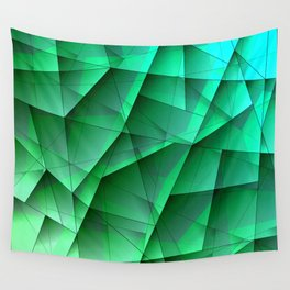 Abstract strict pattern of azure and overlapping fragments and glass lines of irregular shape. Wall Tapestry