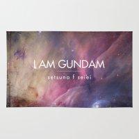 gundam Area & Throw Rugs featuring Gundam Retro Space 2 by Stefan Trudeau