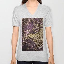 Purple leaves in melted gold Unisex V-Neck