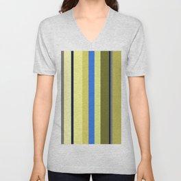 Blue and Moss Stripes Unisex V-Neck