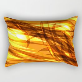 Saturated gold and smooth sparkling lines of metal ribbons on the theme of space and abstraction. Rectangular Pillow