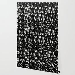 Brush Dot Pattern Black Wallpaper