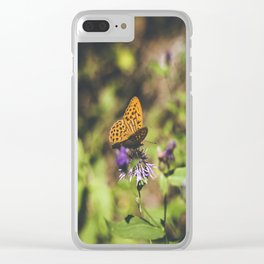Butterfly on the wild flowers Clear iPhone Case