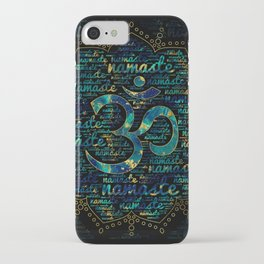 Namaste Word Art in Lotus with OM symbol iPhone Case