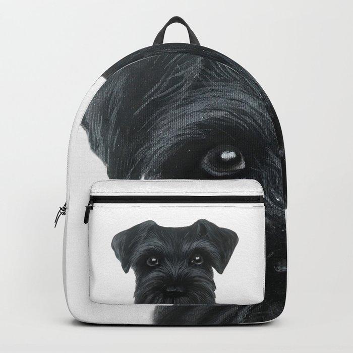 Black Schnauzer, Dog illustration original painting print Backpack