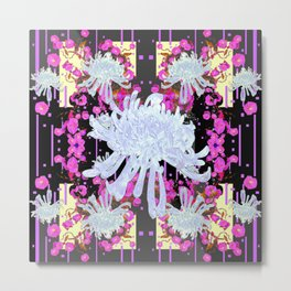 Black & Grey  Decorative Modern White Mums Patterns Flowers Metal Print