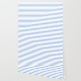 Mattress Ticking Wide Striped Pattern in Pale Blue and White Wallpaper