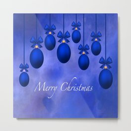 Merry Christmas Ornaments Bows and Ribbons – Blue Metal Print