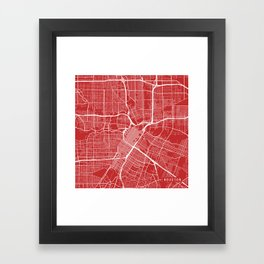 Houston Map, USA - Red Framed Art Print