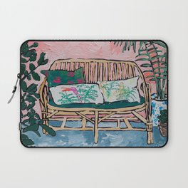 Rattan Bench in Painterly Pink Jungle Room Laptop Sleeve
