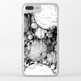 Glitch Black & White Circle abstract Clear iPhone Case