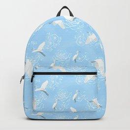 Flying birds above snake water Backpack