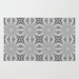 Gray Delicate Flowers Pattern Rug