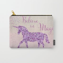 Pink and Purple Glamour Unicorn Believe in Magic Carry-All Pouch