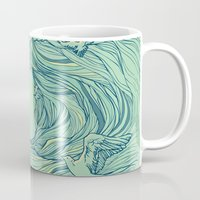 waves Mugs featuring Ocean Breath by Huebucket