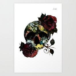 Crâne with roses fashion logo noir colors urban fashion culture Jacob's 1968 Agency Paris Art Print