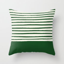 Holiday x Green Stripes Throw Pillow