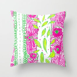Funkly Floral Pink & Green Throw Pillow