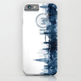 London City Skyline Blue Watercolor by zouzounioart iPhone Case