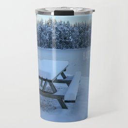 Christmas card with Swedish winter landscape  Travel Mug