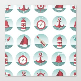 Nautical seamless pattern with sea elements Canvas Print