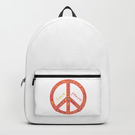 Peace and love, colorful and groovy hippie sign, 60's symbol of freedom Backpack