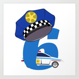 """Birthday Shirt For Those Whose Birthday Is Coming Near """"6 Police Car Officer"""" T-shirt Design Art Print"""