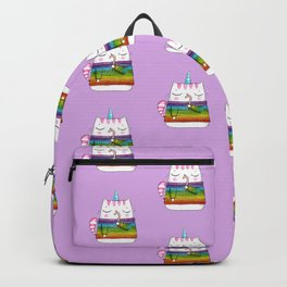 Rainbow Caticorn eating a candy cane Backpack