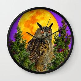 LONG-EARED OWL & MOON PANTENE PURPLE  ART DESIGN Wall Clock