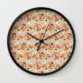 Motif chouette automnale Wall Clock
