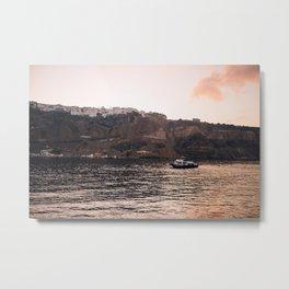 Greek tugboat at sunrise Metal Print