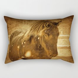 Horse Along a Fence with Snow in Winter. Golden Age Painting Style. Rectangular Pillow