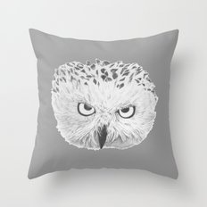 Snowy Owl Grey Throw Pillow