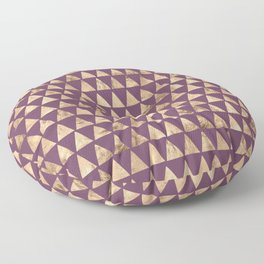 Triangles Rose Gold Aubergine vintage illustration pattern Floor Pillow