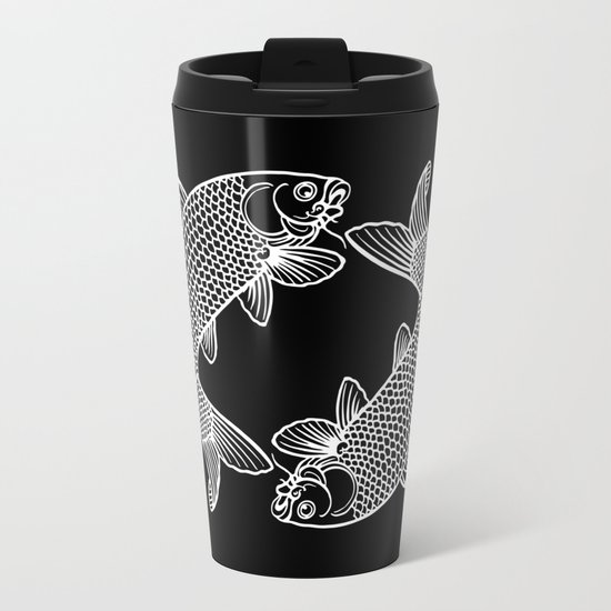 Black White Koi Metal Travel Mug